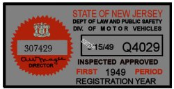 1949 New Jersey 1st Period Inspection Sticker