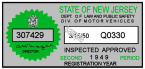 1949 New Jersey 2nd Period Inspection Sticker