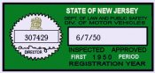 1950 New Jersey 1st Period INSPECTION Sticker