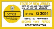 1951 New Jersey 2nd period Inspection Sticker