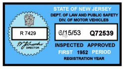 1952 1st period New Jersey Inspection Sticker