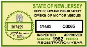 1952 2nd period New Jersey INSPECTION Sticker