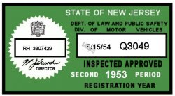 1953 2nd Period New Jersey Inspection sticker