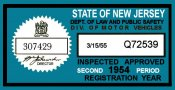 1954 2nd period New Jersey inspection sticker