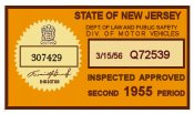 1955 New Jersey Second Period Inspection Sticker