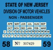 1958-59 New Jersey COMMERCIAL Inspection Sticker
