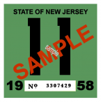 1958 New Jersey INSPECTION Sticker