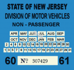 1960 New Jersey INSPECTION Sticker