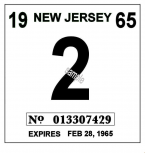 1965 New Jersey INSPECTION Sticker