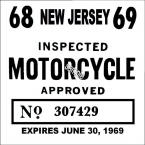 New Jersey Cycle 1968 Inspection Sticker