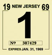 1969 New Jersey INSPECTION Sticker