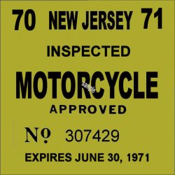 New Jersey Cycle 1970 Inspection Sticker