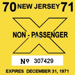 1971 New Jersey COMMERCIAL Inspection Sticker