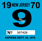 1970 New Jersey INSPECTION Sticker
