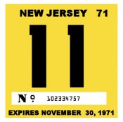 1971 New Jersey INSPECTION Sticker
