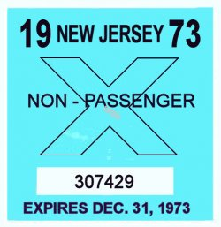 1973 New Jersey TRUCK Inspection Sticker