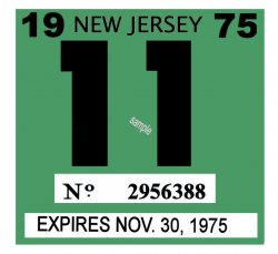 1975 New Jersey INSPECTION Sticker