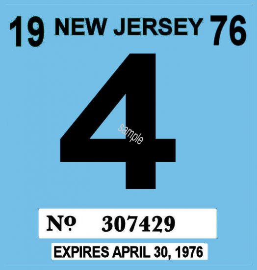 1976 New Jersey Inspection Sticker - Click Image to Close