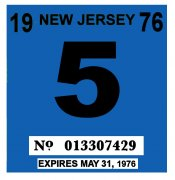 1976 New Jersey Inspection Sticker