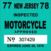 New Jersey Cycle 1977 Inspection Sticker