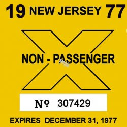 1977 New Jersey COMMERCIAL Inspection Sticker