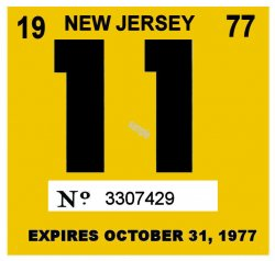 1977 New Jersey INSPECTION Sticker