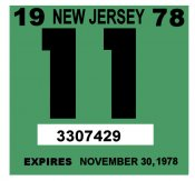 1978 New Jersey INSPECTION Sticker