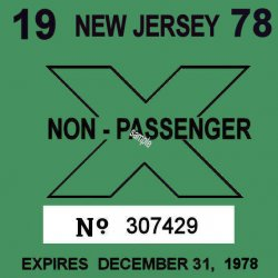 1978 New Jersey Commercial/truck inspection sticker
