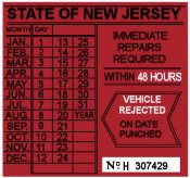00 New Jersey FAILED REJECTION Sticker 48 Hrs 1970s