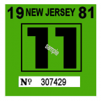 1981 New Jersey INSPECTION Sticker
