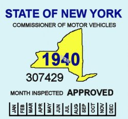 1940 New York Safety inspection Sticker