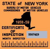 1958-59 New York INSPECTION Sticker