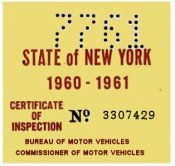 1960-61 New York INSPECTION Sticker