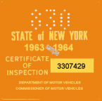 1963-64 New York INSPECTION Sticker