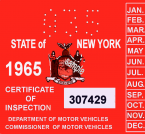 1965 New York INSPECTION Sticker