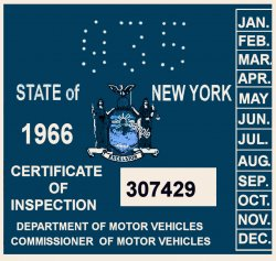 1966 New York INSPECTION Sticker