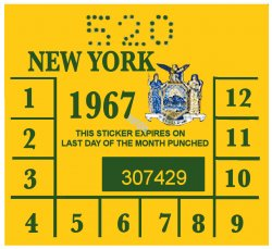 1967 New York INSPECTION Sticker