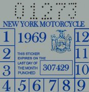 New York 1969 inspection sticker Cycle