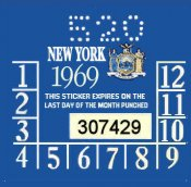 1969 New York INSPECTION Sticker