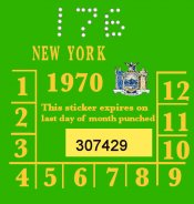 1970 New York INSPECTION Sticker