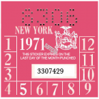 1971 New York INSPECTION Sticker