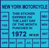 1972 New York Inspection sticker MOTORCYCLE