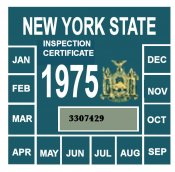 1975 New York INSPECTION Sticker