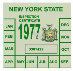 1977 New York INSPECTION Sticker