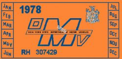 1978 New York REGISTRATION Sticker