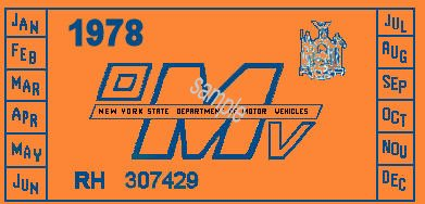 1978 New York INSPECTION Sticker - Click Image to Close