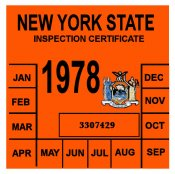 1978 New York INSPECTION Sticker