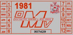 1981 New York REGISTRATION sticker