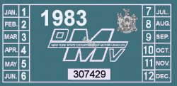 1983 New York REGISTRATION sticker