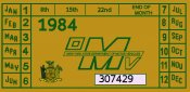 1984 New York REGISTRATION sticker
